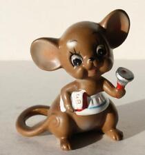 Josef Originals Teacher Mouse-Mice With Bell-Book Vintage Ceramic Figurine-Cute
