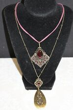 """LUCKY BRAND DOUBLE PENDANT 20"""" NECKLACE WITH SEMI PRECIOUS STONE ACCENTS"""