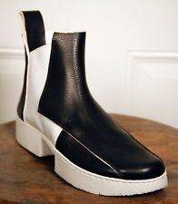 NIB - TRIPPEN - CRUST ANKLE BOOT IN BLACK/WHITE LEATHER - SIZE 39 - US 8/8.5