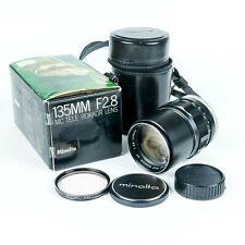 Vintage Minolta Rokkor-PF 135mm f/2.8 Telephoto Lens w Filter, Case,  & Box