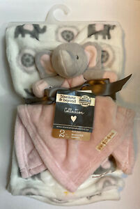 NWT Blankets & Beyond Pink White Gray Elephant Baby Blanket Nunu Lovey gift set
