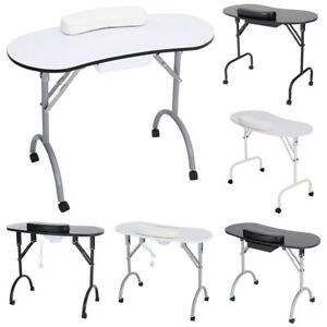 Folding Portable Manicure Nail Table Salon Technician Desk Work Station Stool