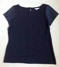 LOVELY BANANA REPUBLIC BLACK TOP WITH LEATHERETTE SHORT SLEEVES