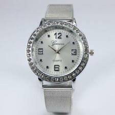 Ladies Fashion Silver Dial Stainless Steel Silver Mesh Band Wrist Watch.