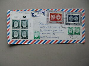 ISRAEL, R-cover to Germany 1976, rich franking ao block of Coat of arms Phosfor