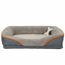 Dog Bed - Snuggly Sleeper With Grooved Orthopedic Foam Extra Comfy Cotton