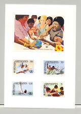 Grenada Grenadines #647-651  Youth Year 4v & 1v S/S Imperf Proofs on Card
