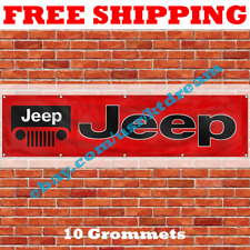 Jeep Car Banner Flag 2x8Ft Grand Cherokee Renegade Compass Wrangler Rubicon NEW