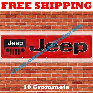 Jeep Car Banner Flag 2x8Ft Grand Cherokee Renegade Compass Wrangler Rubicon NEW
