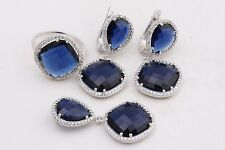 Turkish Handmade   Sapphire Topaz 925 Sterling Silver Sets Ring Size 7