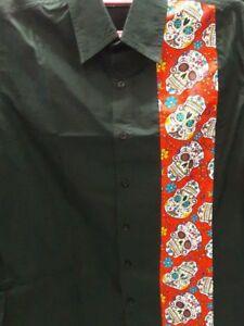 Men's Rockabilly Shirt Garage Hot Rod - Black / Red Panel Sugar Skulls size XL