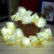 20LED White Rose Flower Fairy Wedding Garden Christmas Decor Xmas String Lights
