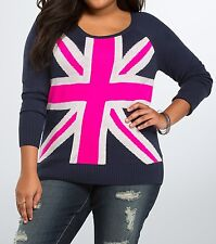 Torrid Navy Blue Neon Pink London Union Jack Flag Sweater 1 14 16 1X #76632