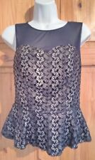 Diamond By Julien Macdonald black gold embroidered design Peplum party Top UK 10