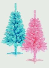 Premier Blue Or Pink 3ft 90cm Christmas Xmas Artificial Tree Ideal For Bedroom