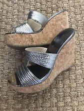 JIMMY CHOO Metallic Silver Wedge Cork Slide Sandal Size 37
