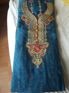 Salwar Kameez Unstitched Loose Material Pakistani Fabric 4 Piece Suit brown