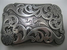 Cowboy Western Belt Buckle #38 - Silver Plated - Floral
