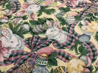 """VTG Fashion Industries EASTER BUNNY Oval Cotton Tablecloth 75"""" x 60 THAILAND"""