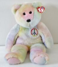 Ty 1999 Peace  Bear 16 Inches Ty Dye The Beanie Buddies Collection Plush Toy