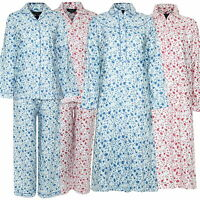 Ladies Blue Sea Champion Winceyette Pyjamas/Nightdress Wincey Brushed Cotton