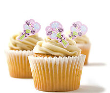 ✿ 24 Edible Rice Paper Cup Cake Toppings, Cake decs - Bouquet ✿