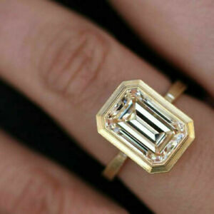 14k HallmarkYellow Gold 3.50 ct Emerald Cut Diamond Engagement Ring Wedding gift