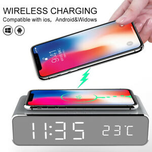 Electric LED Mirror Alarm Clock With Wireless Phone Charger Digital Thermometer✨