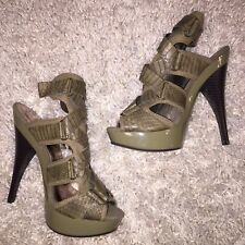 Army Green Caged Platform Heels, Baby Phat Lesley, size 7.5, Olive