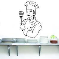 CHEF Decal WALL STICKER Art Home Decor Vinyl Stencil Funny Kitchen Cook ST42