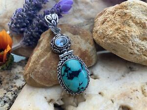 LARGE 925 Sterling Silver Turquoise & Blue Topaz Pendant Approx 10g Stunning!