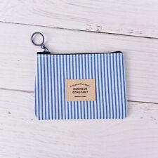 Stripe Canva Zero Wallet Children Clutch Zipper Women Pocket Pouch Key Coin 3C