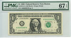 Fr#1914-A $1 1988 Low Serial Number A00000087B PMG Graded 67 EPQ First 100 Notes