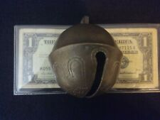 antique sleigh bell brass signed cow bell 2 1/2 early