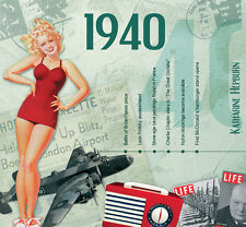 78th BIRTHDAY GIFT - 1940 Classic Retro Pop CD and Year Greeting Card