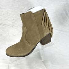 Coconuts By Matisse Women's Ankle Boots Fringe Tan Suede Zip Size 8 M NIB