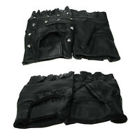 New Plain Black Stud Fingerless Biker Punk Gothic Driving Cycling Gloves Leather