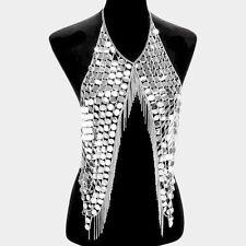 "collar bib choker necklace fringe armor 20"" silver sequin disc vest body chain"