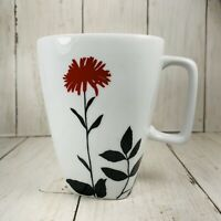 Ty Pennington Style Dark Red Floral Flower Coffee Cup Mug  Black Leave Preowned