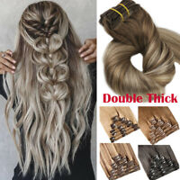 Russian 8A THICK Double Weft Clip in Human Remy Hair Extensions Full Head Ombre