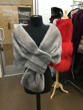 SAPPHIRE GREY GRAY MINK SHAWL WRAP SHRUG CAPE LOOPED END BRIDAL CHIC  NEW