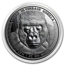1 oz 999 Silber Silbermünze Republic of Congo Kongo Silberrücken Gorilla 2016