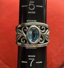 Retired James Avery Sterling Silver 925 Abounding Vine Ring with Blue Topaz Sz 6