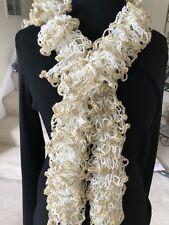 New Handmade Ruffle Scarf - White W/Gold Glitter Trim