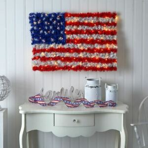 Multicolor Red, White, and Blue ?American Flag? Wall Panel with 100 Warm LED Lig