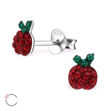 Sterling Silver 925 Sparkly Crystal Red Apple Fruit Stud Earrings