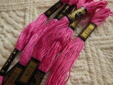 Lot 5 echevettes fil à broder DMC 25  rose vintage ref couleur  603