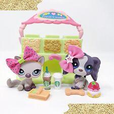 Littlest Pet Shop Dog Car Lot Purple Cocker Spaniel #1209 & Cat #664 Accessories