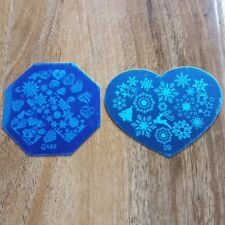 2 x CHRISTMAS SNOWFLAKE NAIL ART STAMPING PLATE IMAGES STAMPER MANICURE POLIS...