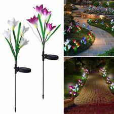 2Pcs Solar Powered Light 8 Lily Flower Multi-Color Changing LED Decor Lights